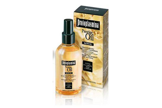 Prestige Oil – Nutri Oil: Trattamento di bellezza suprema capelli e corpo. La selezione di 3 oli naturali dalle preziose qualità creano uno straordinario preparato adatto per tutti i tipi di capelli ed ideale anche per la cura del corpo.