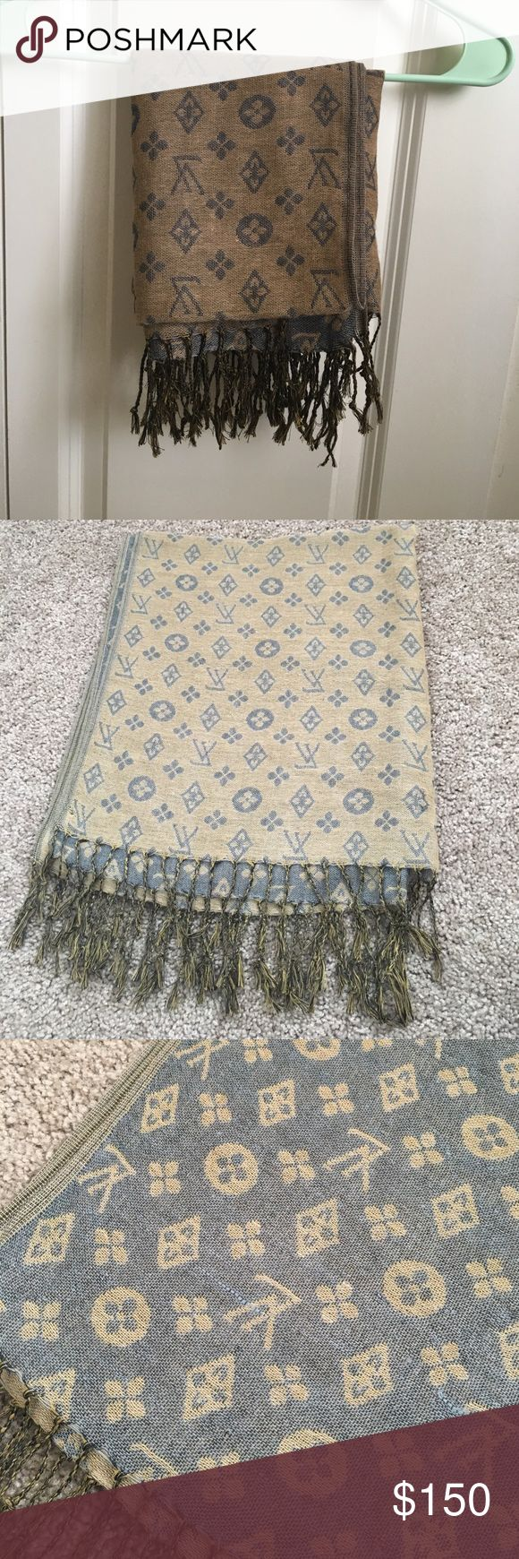 Real Louis Vuitton scarf Tan and grey Louis Vuitton scarf. Worn more than other 2 listed. Good condition. Louis Vuitton Accessories Scarves & Wraps