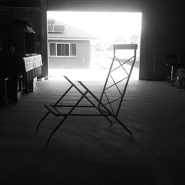 This chair is almost done and ready for paint front and top silky oak pieces are cut shaped and fitted now for the armrests. #handmade #furniture #metalwork #midcentury #midcenturymodern #retro #vintage #welding #wood #woodwork #timber #create #chair #armchair #build #dream #design #shed #steel #style de bishoplne