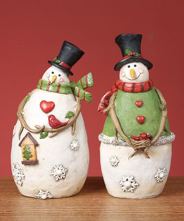 Take a look at this 7.5'' Cardinal Snowman Figurine Set by Transpac Imports on #zulily today!
