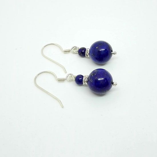 HANDMADE EARRINGS LAPIS LAZULI SILVER with Lapis Lazuli Gemstones of 10mm and 4mm and Silver 925 | HANDMADE JEWELRY | Crystal Pepper
