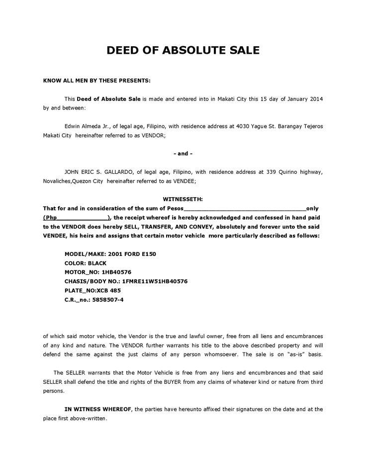 Deed Of Sale By Edwinalmeda Sale Deed For Car Sale Car Motorcyle