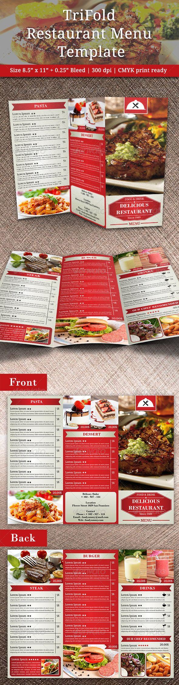 Best Menus Images On   Brochures Menu Templates And