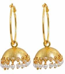 Buy Classy Gold White Micron Gold Plated Jhumki Earrings jhumka online
