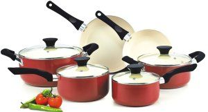 Cook N Home NC-00359 Nonstick Ceramic Coating PTFE-PFOA-Cadmium Free 10-Piece Cookware Set, Red Ceramic Cookware Sets, Nonstick Ceramic Coating is PTFE-Free, PFOA-Free  10 Piece Cookware set includes:  Covered Dutch oven 5-Quart, covered casserole 3 Quart, covered sauce pan 1 Quart, covered sauce pan 2 Quart, fry pan 8 inch, fry pan 9.5 inch Fry Pan. Cadmium and lead free.  http://theceramicchefknives.com/ceramic-cookware-sets-nonstick-ceramic-coating-ptfe-free-pfoa-free/  Ceramic Cookware…