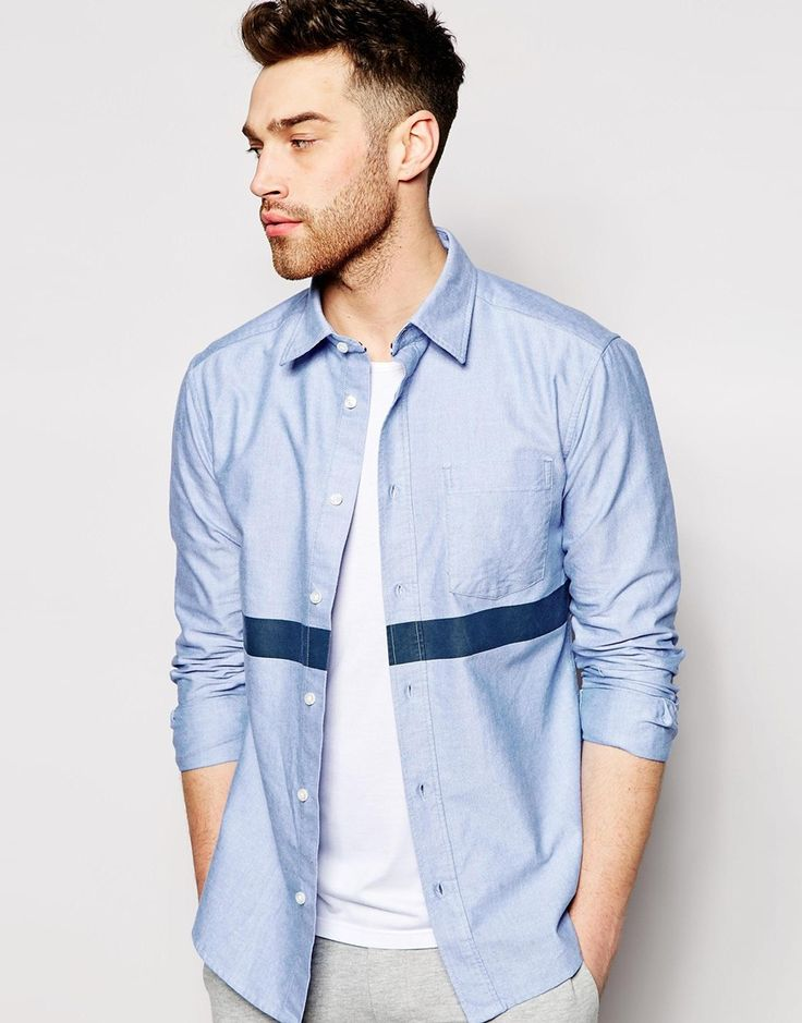 Esprit Oxford Shirt With Printed Body Stripe