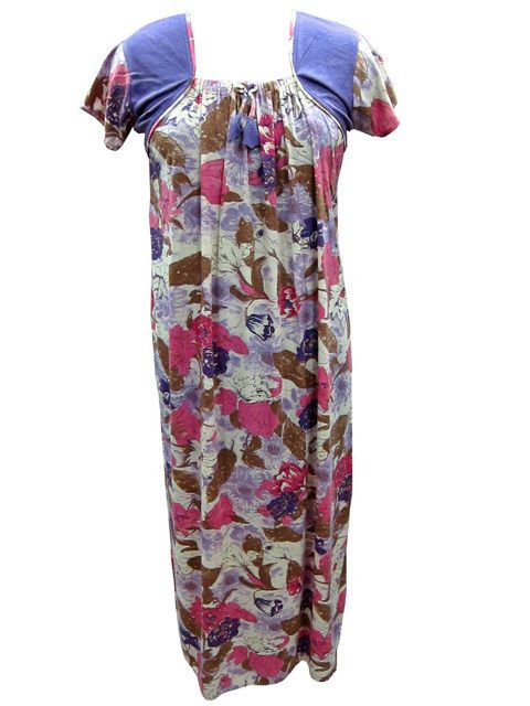 Sleepwear Nighties Women's Boho Gypsy Nightgown Maxi Cotton Dress