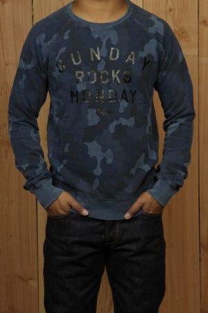 Winter trui voor heren donkerblauw camouflage print, deze trui word waarschijnlijk een grote trend vanwege de kleur en de opdruk