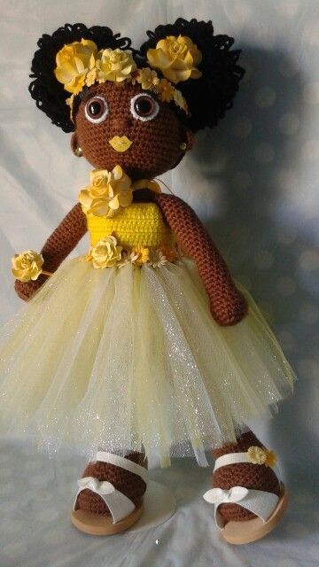 Crochet Doll African American Girl With Curly Afro Puffs