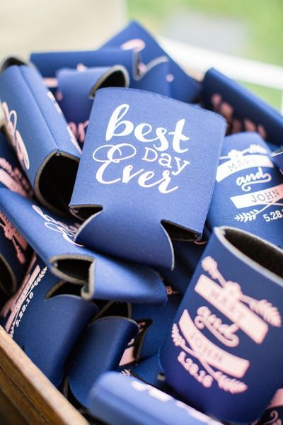 Classic wedding favor idea - navy blue koozies with pink details {Allison Maxwell Photography}