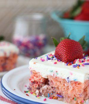 Strawberry Funfetti Poke Cake