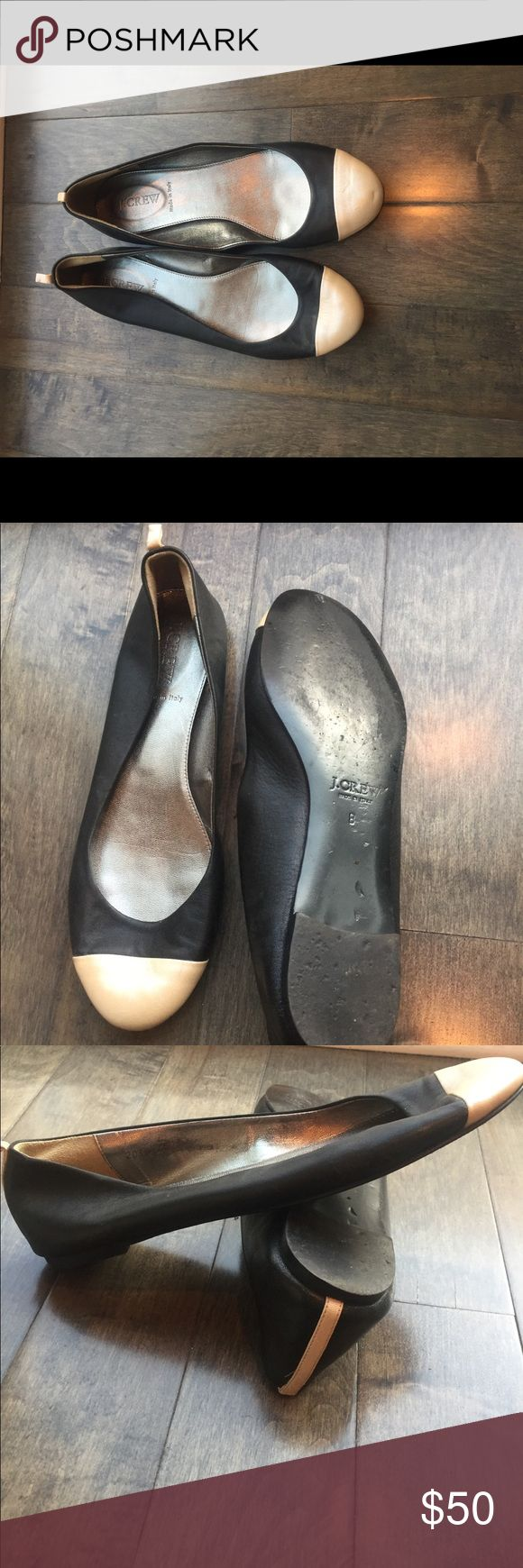 J Crew ballet flats in like new condition. Size 8 These cute and chic black ballet flats with a very light pink/cream cap toe are in great condition and were only worn once or twice. They are made in Italy and great quality. J. Crew Shoes Flats & Loafers