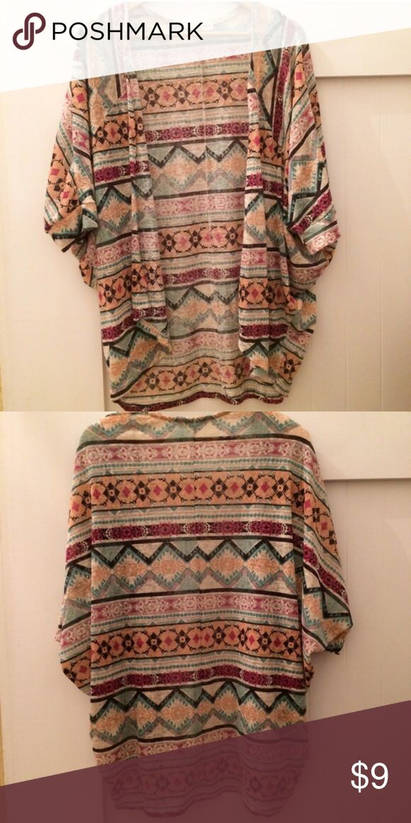 Oversized sheer knit cardigan Aztec tribal pattern - flowy painted threads Sweaters Shrugs & Ponchos