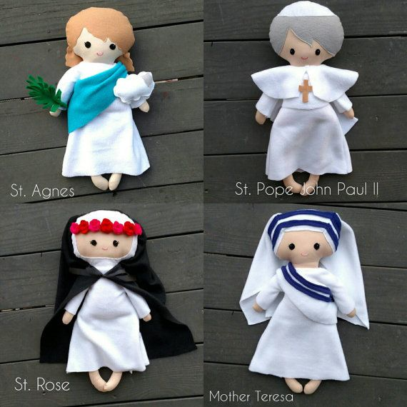 PLEASE SEND PREFERRED IMAGE of the Saint from which you would like me to duplicate!!  Custom fabric dolls are made of fleece and cotton and measure about 19. They make for the perfect companion for the little Catholic.  Saint dolls are a perfect baby shower or baptism gift and can help any parent start teaching their little Catholic about the Saints and the Heavenly Kingdom.  I love the idea of bringing Jesus, Mary and the Saints into the lives of children through everyday play. These dolls…