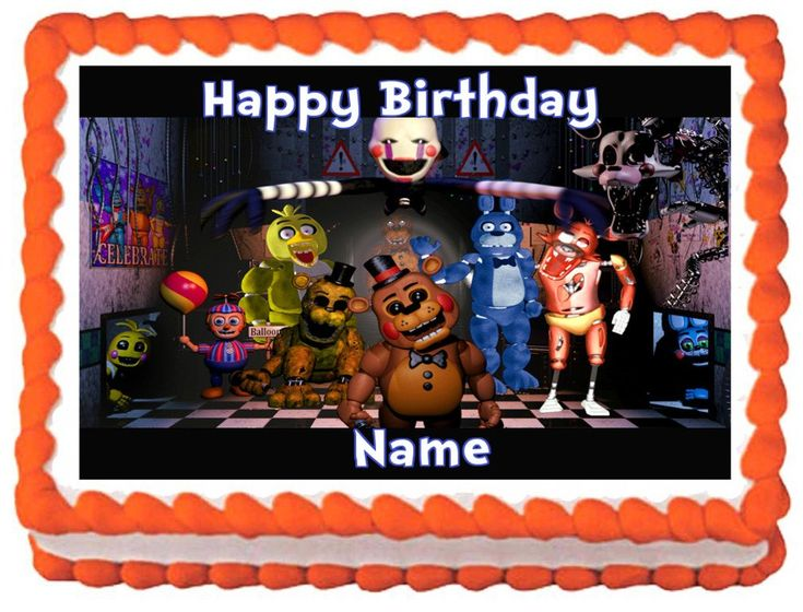 "FIVE+NIGHTS+AT+FREDDY'S+Edible+image+cake+topper+1/4+sheet+(10.5""+x+8"")"