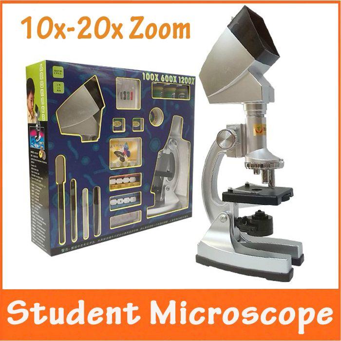 Рождественский подарок 10X-20X увеличить подсветкой образовательные детские игрушки дети 1200X микроскоп с проектором и свет лампы для студентов