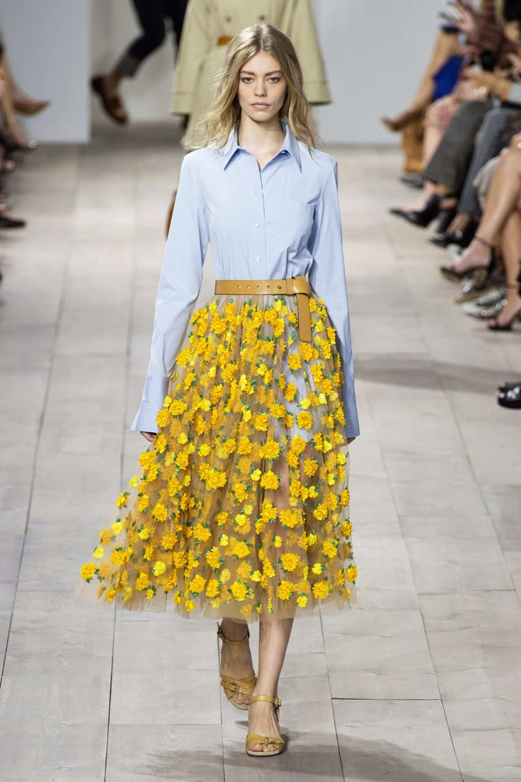 MichaelKors + SS 2015 + nyfw + yellow flowers + full skirt