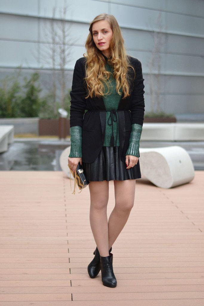 Winter street style cozy sweater and black blazer