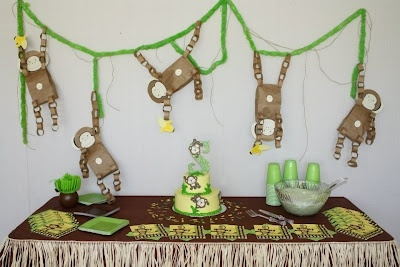 This was a babyshower I helped decorate by using my Cricut and other cute ideas I ended up making into part of the gifts from me to use in Spencers room!  Check out the other pictures and items handmade for this Monkey themed baby shower on my blog!  ;-)