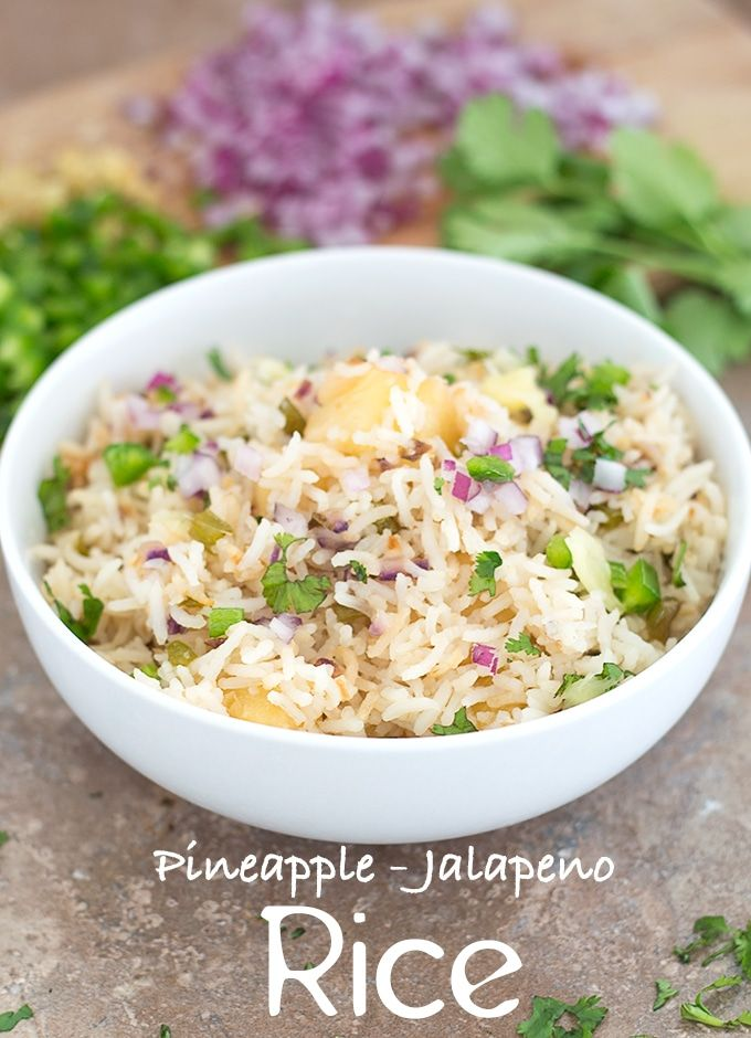 Pineapple Fried Rice with Jalapeno. This is a simple side dish with easy ingredients. | #vegan #sidedish #pineapple #rice vegan dinner, Vegan sides, easy rice recipes