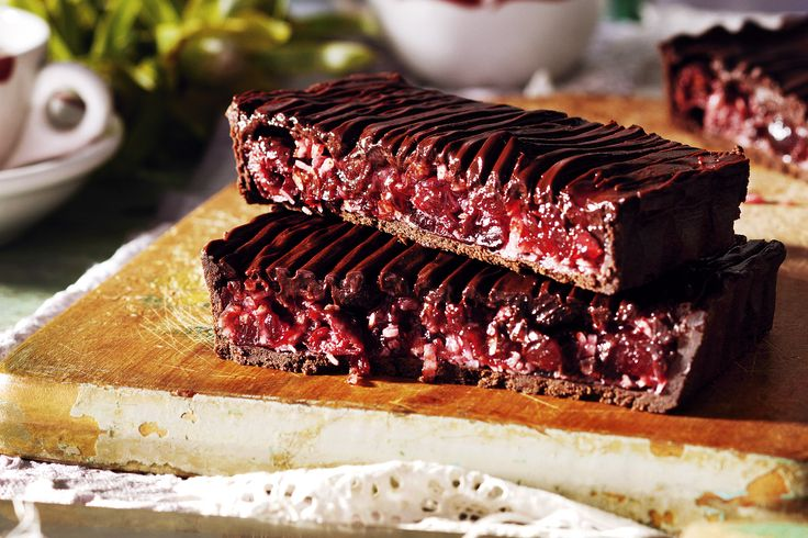This rich chocolate tart is our take on an Aussie favourite - the Cherry Ripe http://www.taste.com.au/recipes/28729/choc+cherry+tart