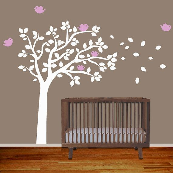 Baby Nursery Wall Decal Tree with Birds - Removable Vinyl Wall Decal Sticker