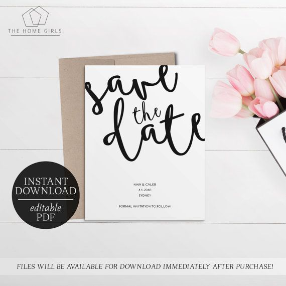 Printable Save The Date Calligraphy Invitation  Black and