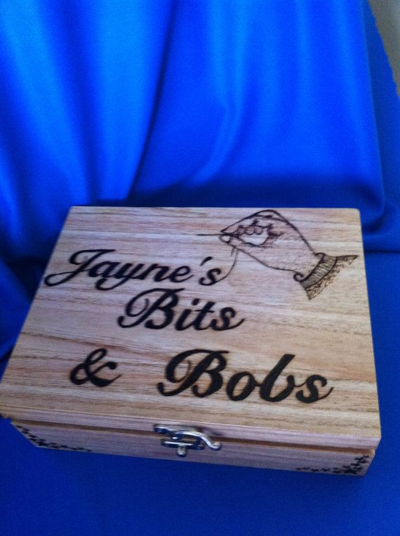 Personalised Wooden Sewing Box by PyroArtBySdew on Etsy