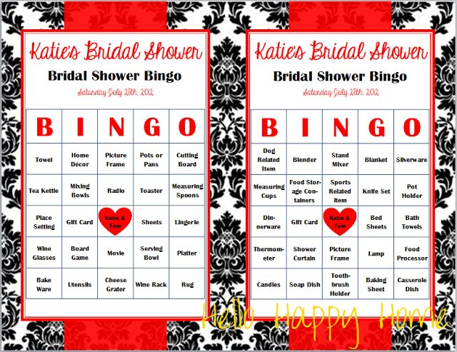 hello happy home: Bridal Shower Games - Bridal Bingo and What's In Your Purse templates