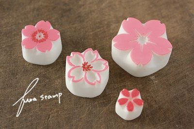 Sakura blossoms hand carved rubber stamps. 桜いろいろの画像:ふわふわ堂