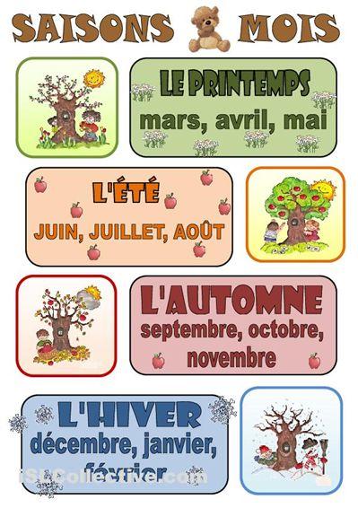 French seasons & months graphic - Les saisons et les mois | #teaching #francais
