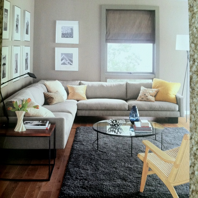 Grey Couch Yellow Pillows Black White Photography Prints Shag Rug On Dark Wood Floors