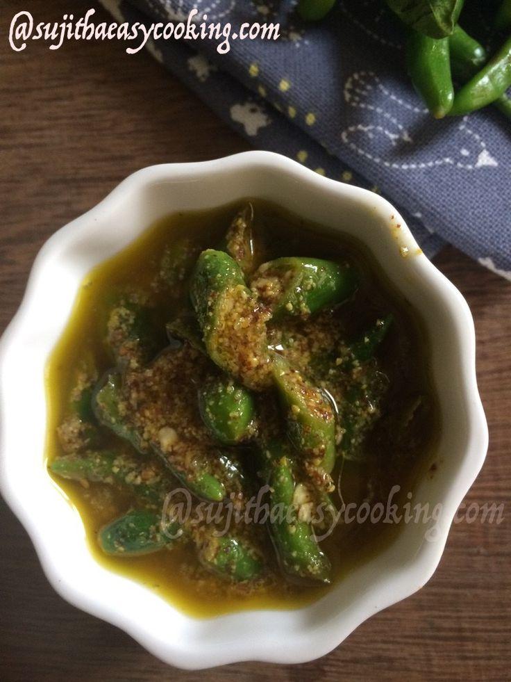 Green Chilli Pickle/Andhra Chilli pickle