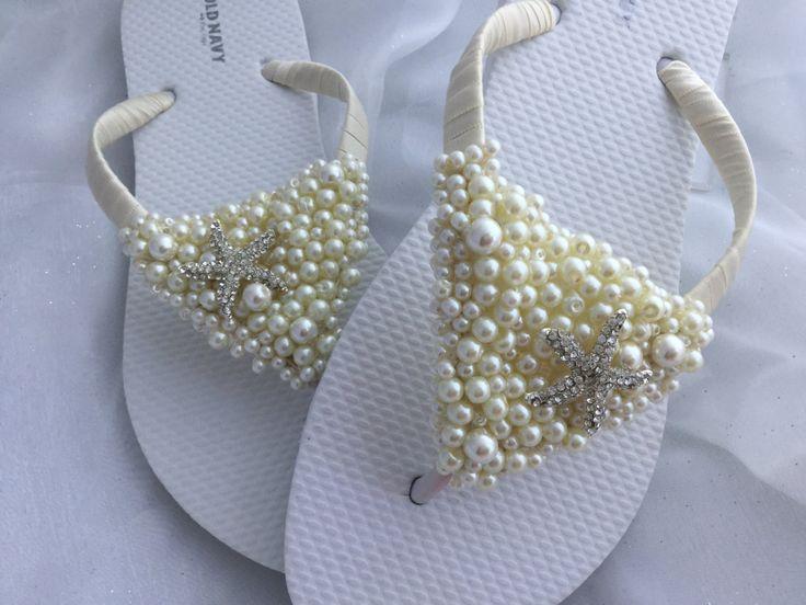 Starfish Bridal Flip Flops White Wedding Sandals Beach