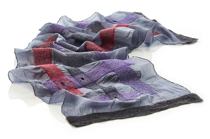 """""""LINES"""" silk pongé scarf decorated with merino wool and silk fibres. Handmade, ethereal and unique. With Nuno Felting Technique."""