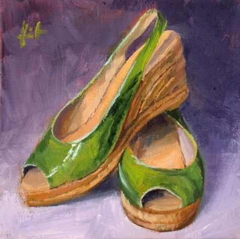 My Things, Green Summer Shoes, painting by artist Liza Hirst