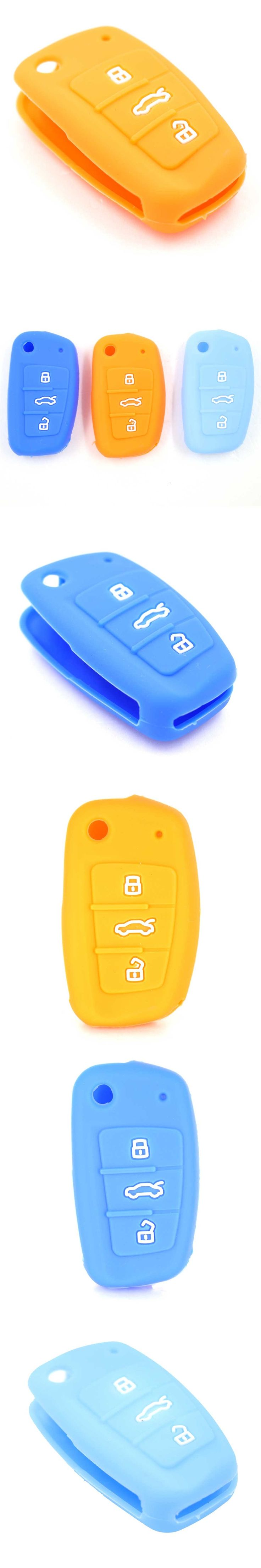 3 Buttons Colorful Silicone Key Cover Case For Audi A1 A3 Q3 Q7 R8 A6L TT Flip folding Key Case Shell