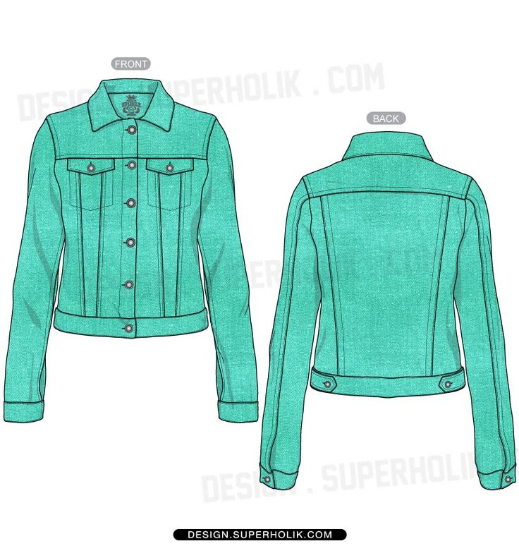 Women's denim jacket template   SKETCHES Flats, Technical ...