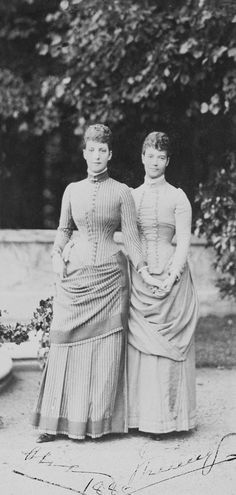 Cabinet photograph of Queen Alexandra when Princess of Wales and her sister Empress Maria Feodorovna of Russia full-length portrait,.