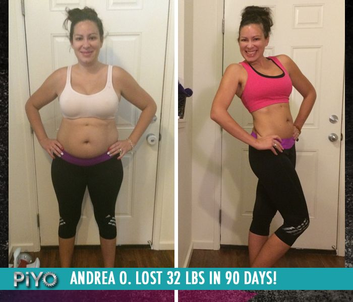 "Andrea O. lost 32 lbs in 90 days with PiYo!     ""My body has changed shape!  I have lost inches around my hips, things, and waist.  I have energy and I am able to keep up with my three very active boys!  I also have a flat belly again!"""