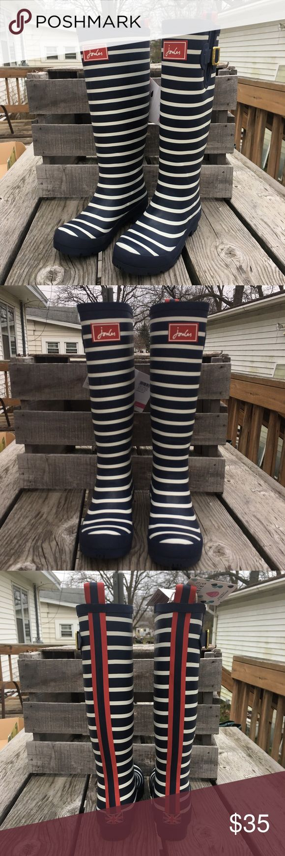 🆕List! Joules French Navy Stripe Rainboots! NEW! Adorable Wellies! Size 5. New in box! Shaft height 13.5 inches. Shaft width 14.5 inches. Heel height 1 inch. Platform height 0.5 inch. Material is rubber. Pull on styling. Joules Shoes Winter & Rain Boots