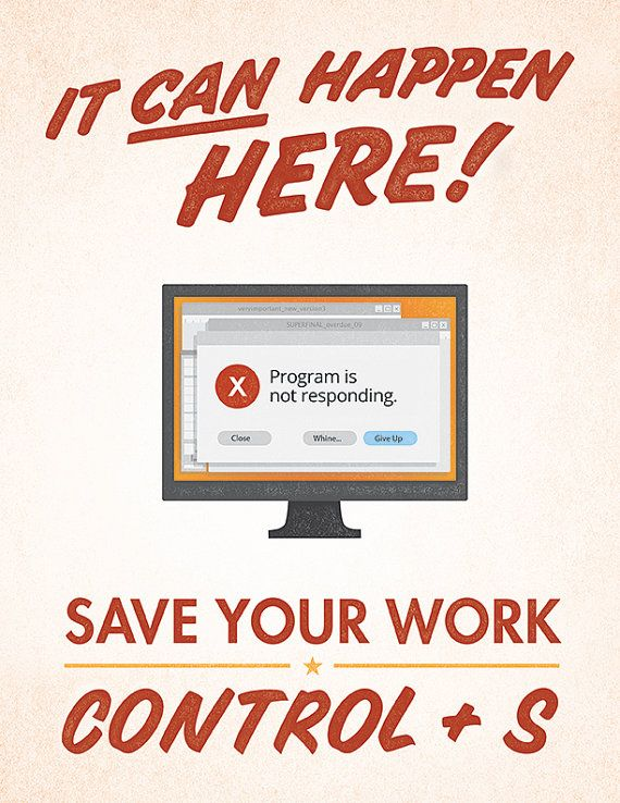 Save Your Work Graphic Design Poster | Windows / PC | Keyboard Shortcut | gift