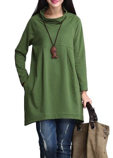 Green Long Sleeve Cowl Neck T Shirt | lulugal.com - USD $28.27