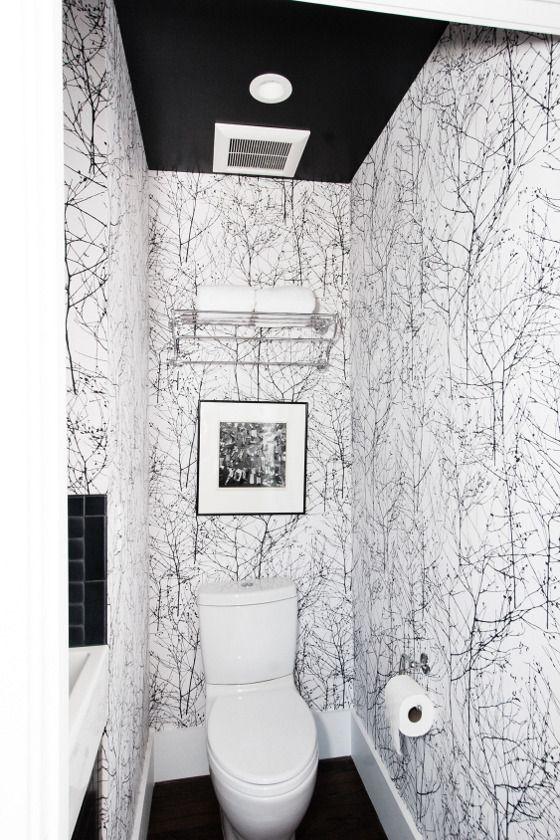 imprim vgtal en noir et blanc pour des wc design - Deco Pour Wc Toilettes