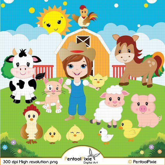 Farm Animals Clipart Farmyard Animals Barn Sheep Cow Horse Pig Rooster Duck Farmer Girl Clipart Cute Animals Clipart In 2021 Cute Animal Clipart Animal Clipart Farm Animals