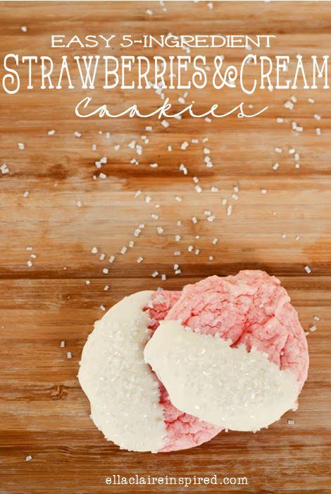 {Ella Claire}: Strawberries and Cream 5 Ingredient Valentine Cookies #recipe #cookies #strawberry