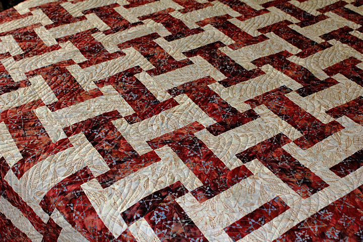 Southwestern Inspired Brick Red Batik with Grey Stars FULL size quilt.  Warm rustic cabin feel. by SewKreativebyKathryn on Etsy