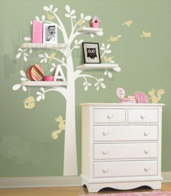This would be really great to pull off for the guest room for grandchildren! tree art w/shelves