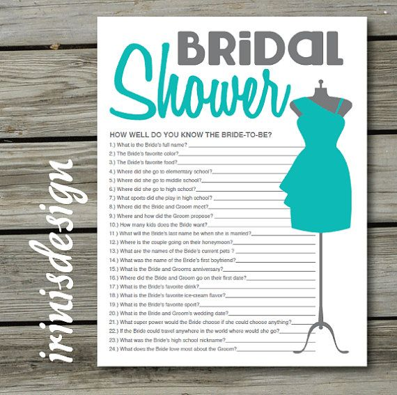 Tiffany Blue Bridal Shower Game Quiz How Well Do You Know