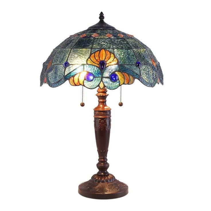 Tiffany Style Table Lamp Blue Vintage Home Office Decor New #TiffanyStyle